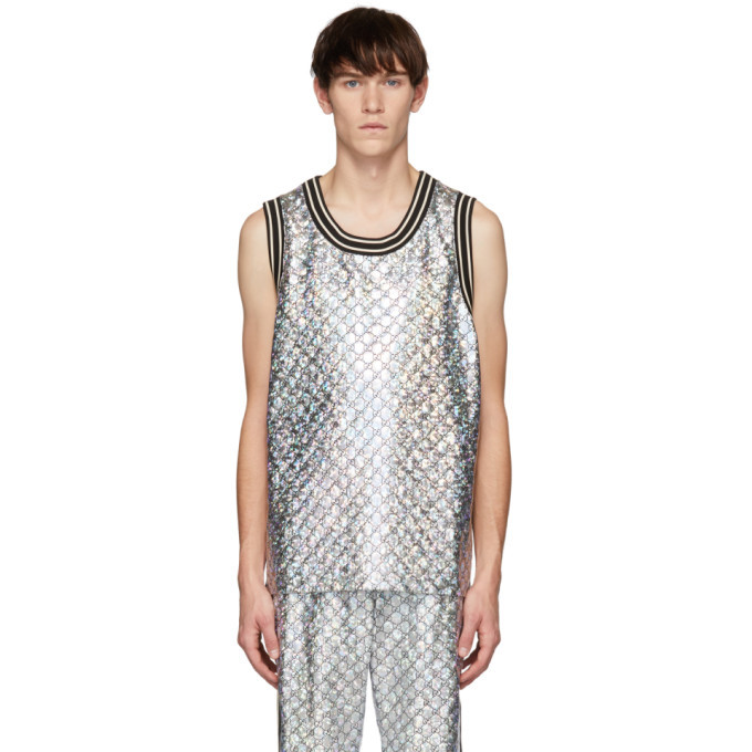 Photo: Gucci Black and Silver GG Printed Tank Top