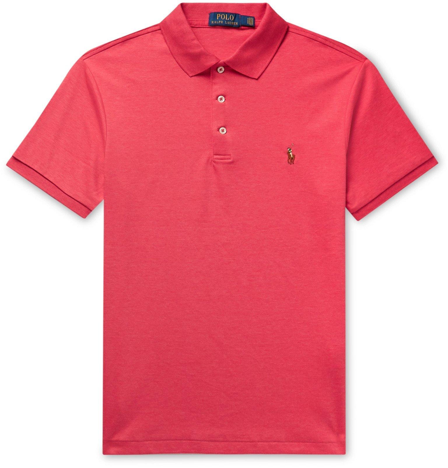 Photo: Polo Ralph Lauren - Slim-Fit Mélange Pima Cotton Polo Shirt - Red