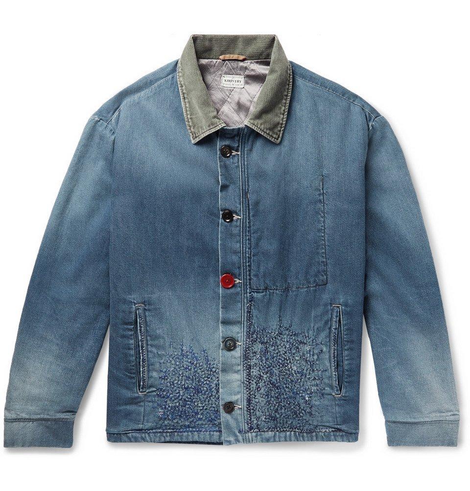 KAPITAL - Corduroy-Trimmed Embroidered Denim Jacket - Men - Blue