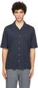 Sunspel Navy Pima Piqué Camp Collar Short Sleeve Shirt