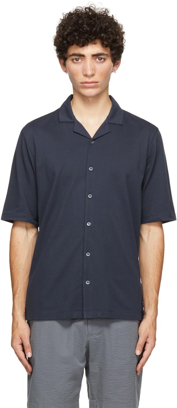 Photo: Sunspel Navy Pima Piqué Camp Collar Short Sleeve Shirt