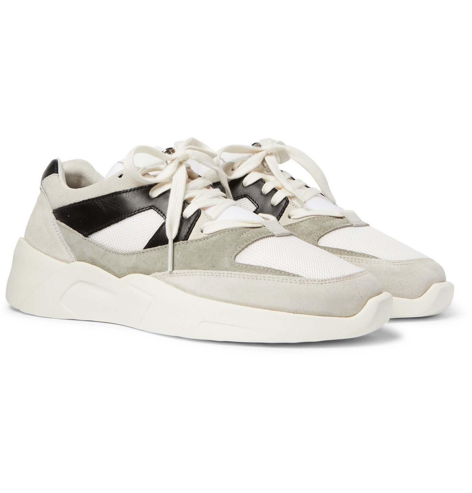 Leather-Trimmed Suede and Mesh Sneakers