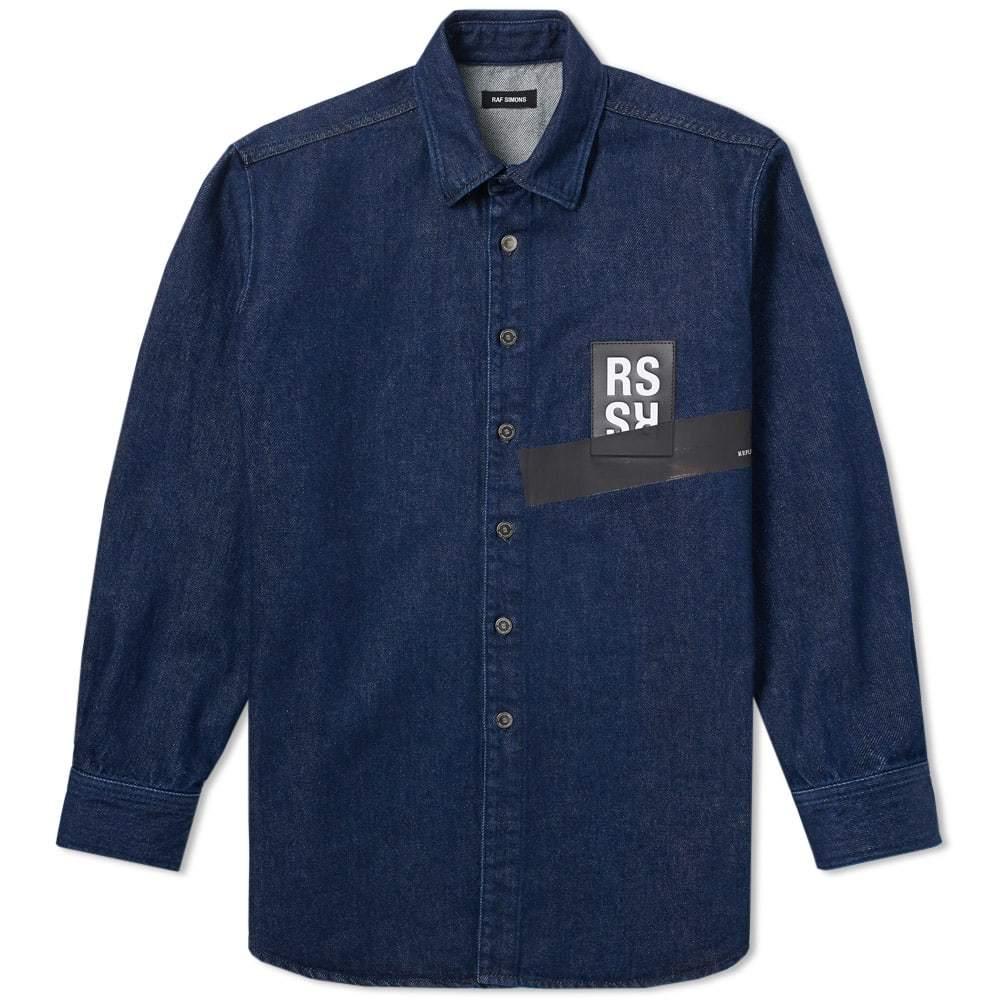 Raf Simons Patch Logo Denim Shirt Blue