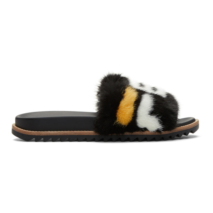 Photo: Fendi Black Fendi Mania Fur Slides