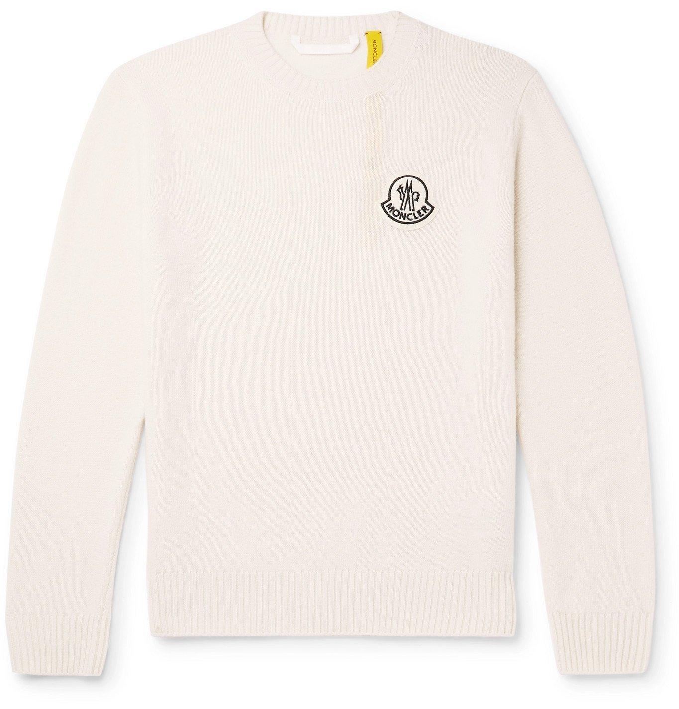 Photo: Moncler Genius - Logo-Appliquéd Virgin Wool Sweater - White