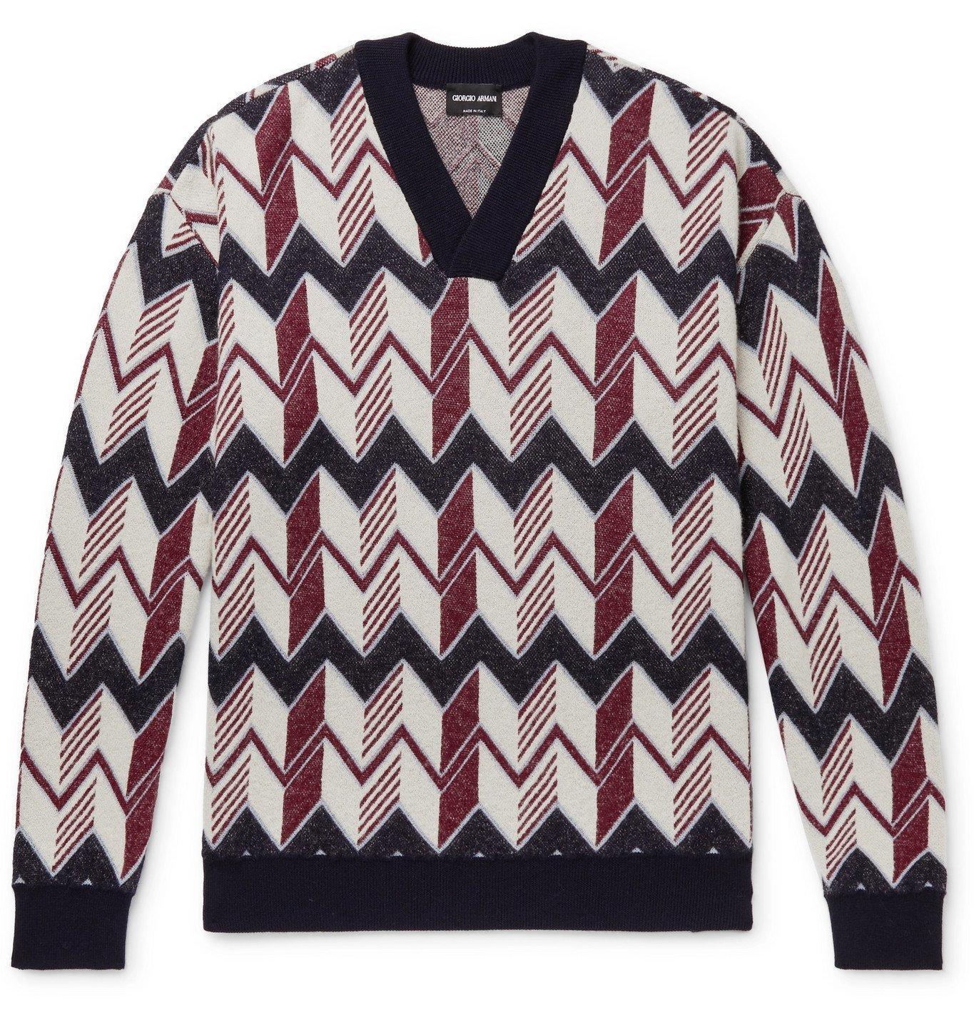 Giorgio Armani - Jacquard-Knit Sweater - Red