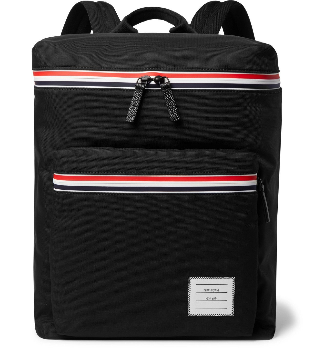 Photo: Thom Browne - Appliquéd Pebble-Grain Leather-Trimmed Canvas Backpack - Black