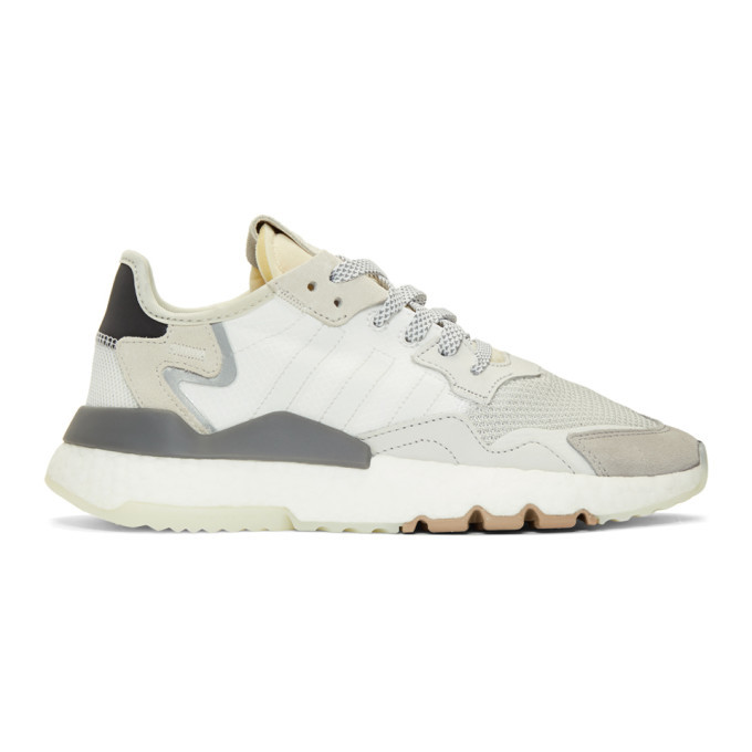 adidas Originals White and Black Nite Jogger Sneakers