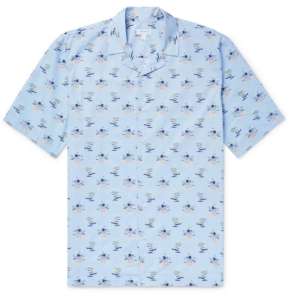 Sunspel - Camp-Collar Printed Cotton Shirt - Blue