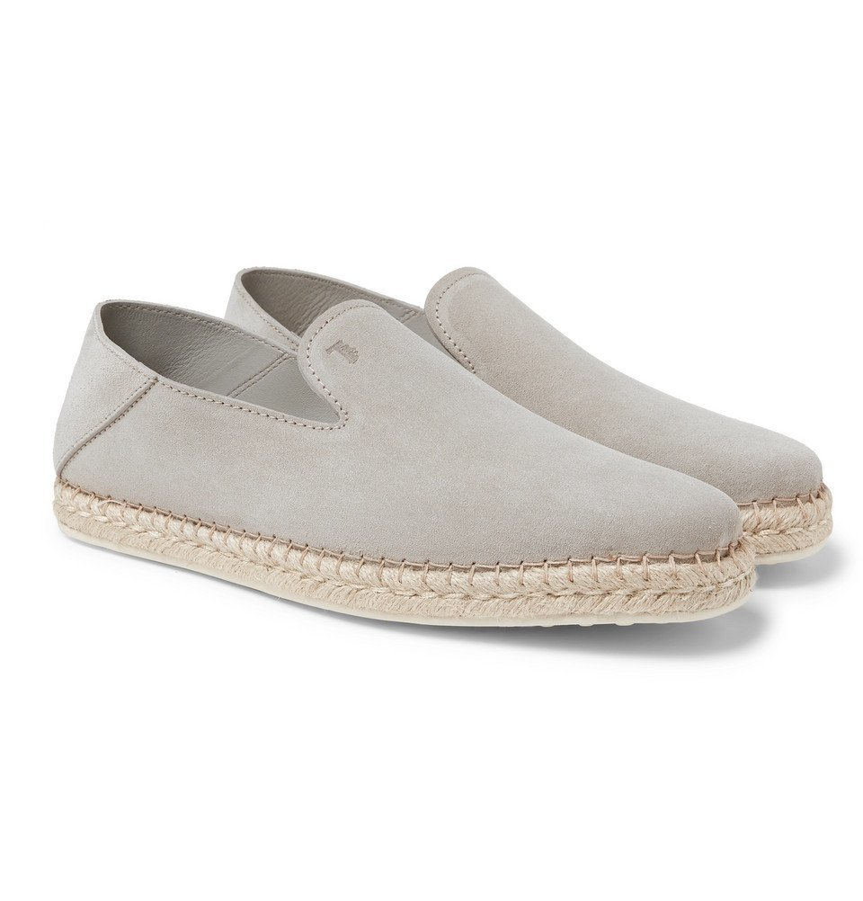 Tod's - Collapsible-Heel Suede Espadrilles - Light gray