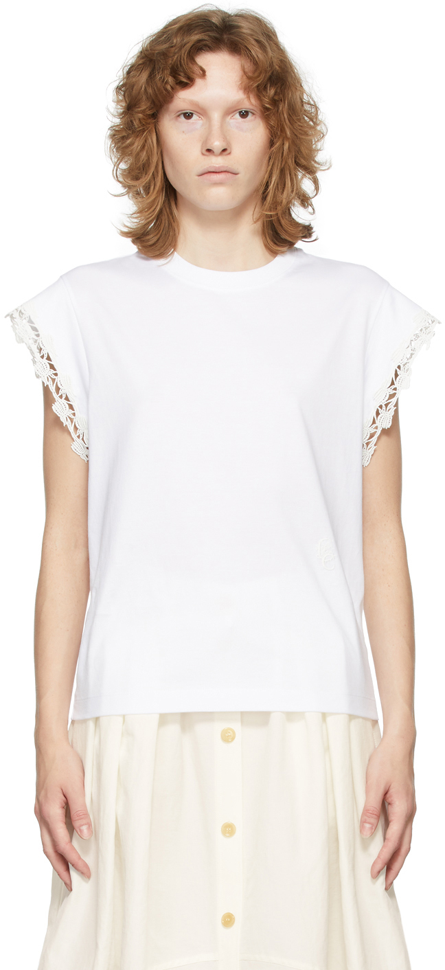 Photo: Chloé White Guipure T-Shirt