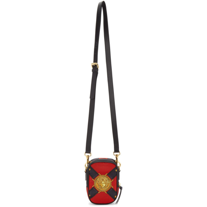 Photo: Versace Red Bondage Print Crossbody Bag