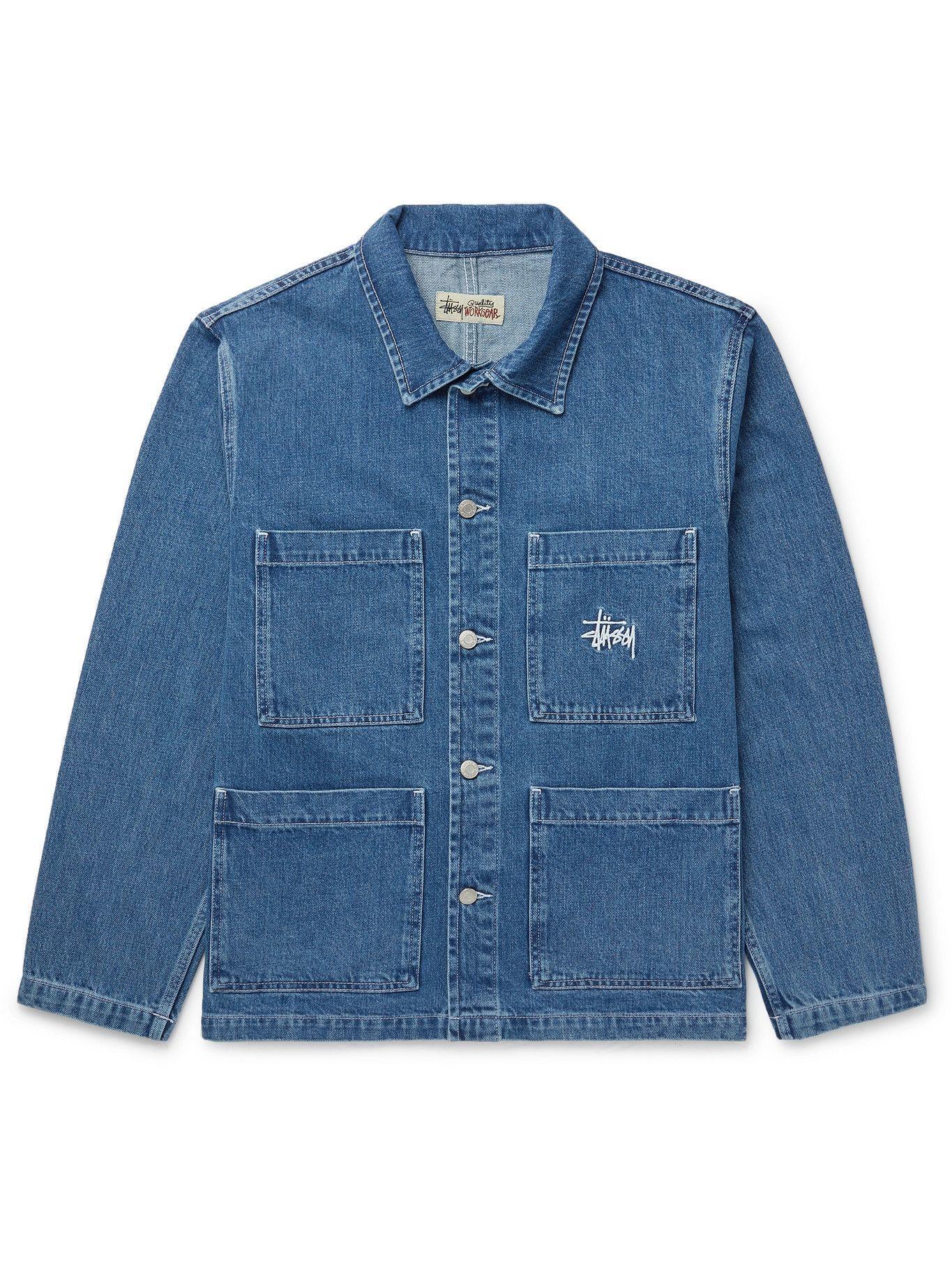 Photo: STÜSSY - Logo-Embroidered Denim Chore Jacket - Blue