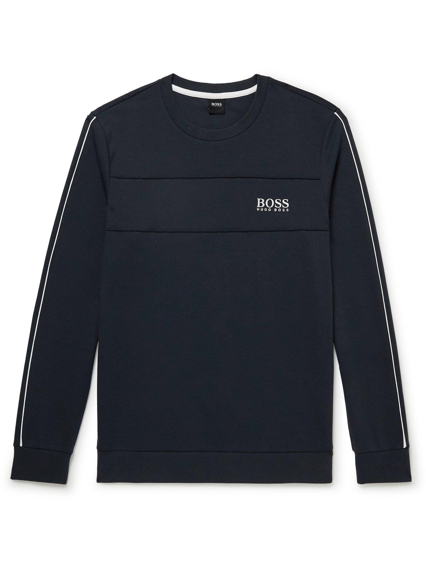 HUGO BOSS - Logo-Embroidered Tech Cotton-Blend Jersey Sweatshirt - Blue