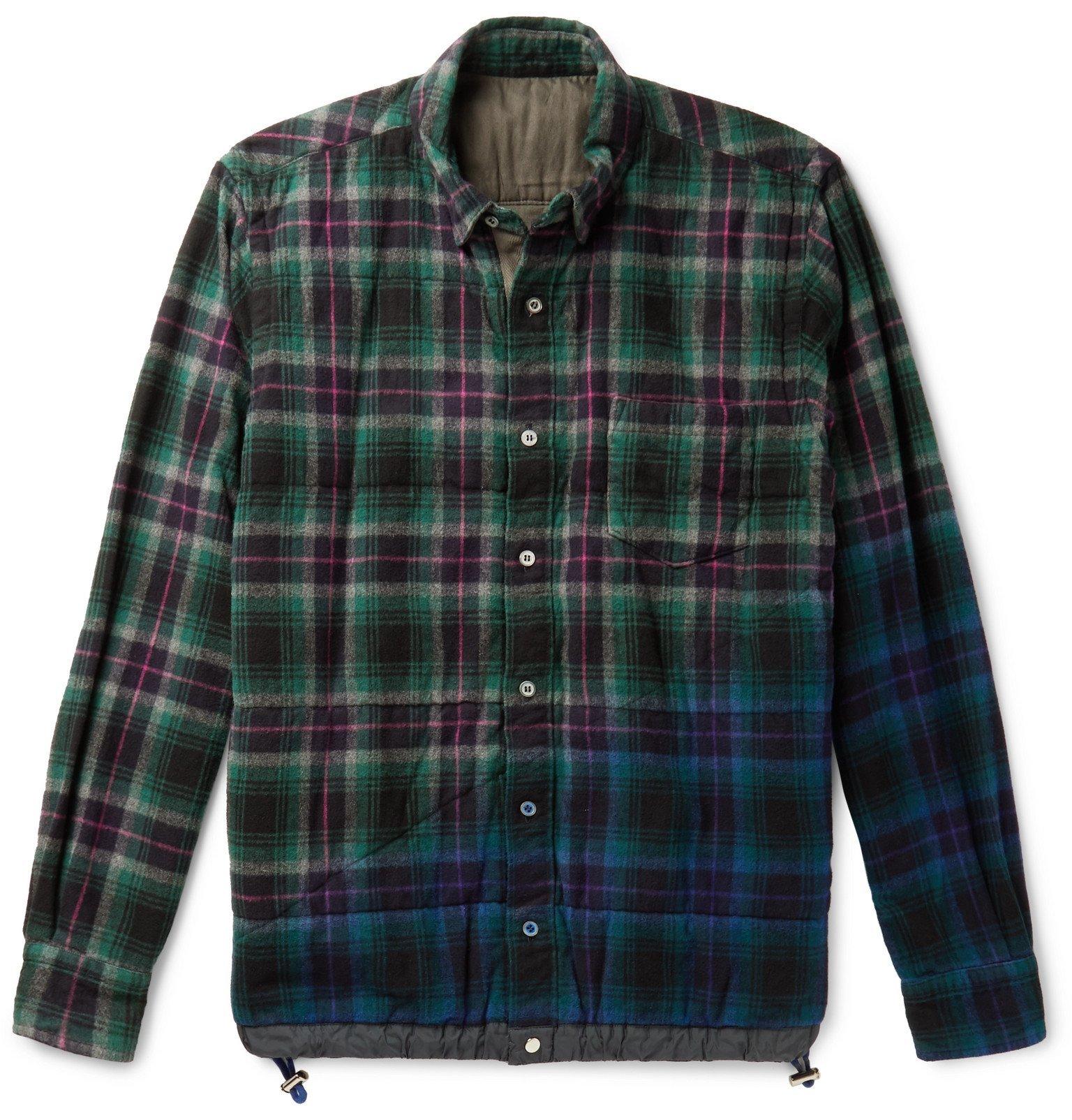 Sacai - Checked Cotton-Flannel Overshirt - Green