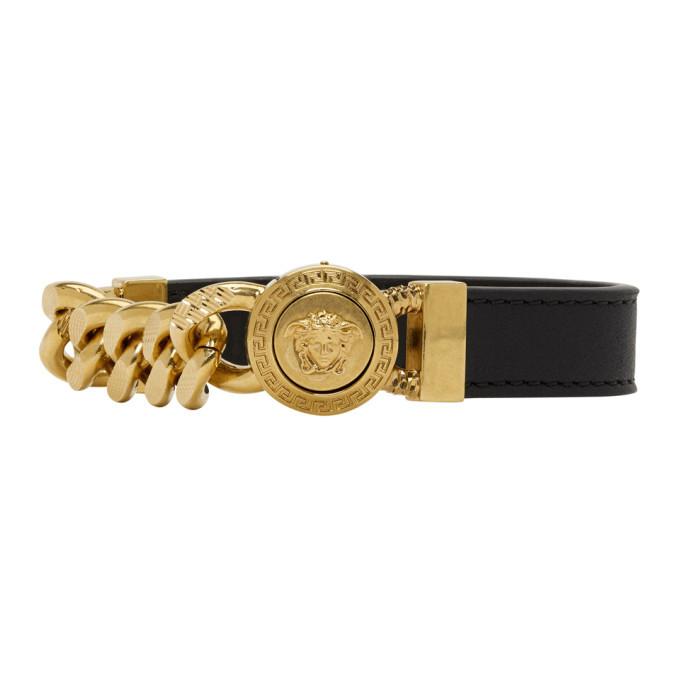 Photo: Versace Black and Gold Leather Medusa Bracelet