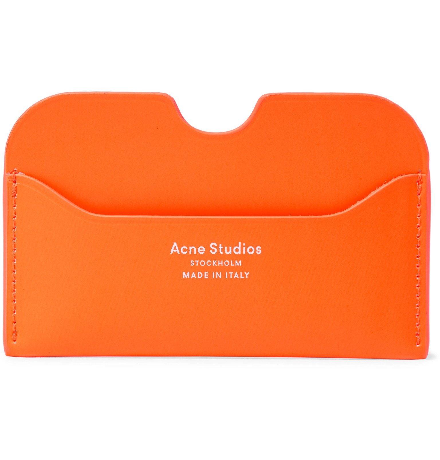 Photo: Acne Studios - Elmas Logo-Print Neon Leather Cardholder - Orange