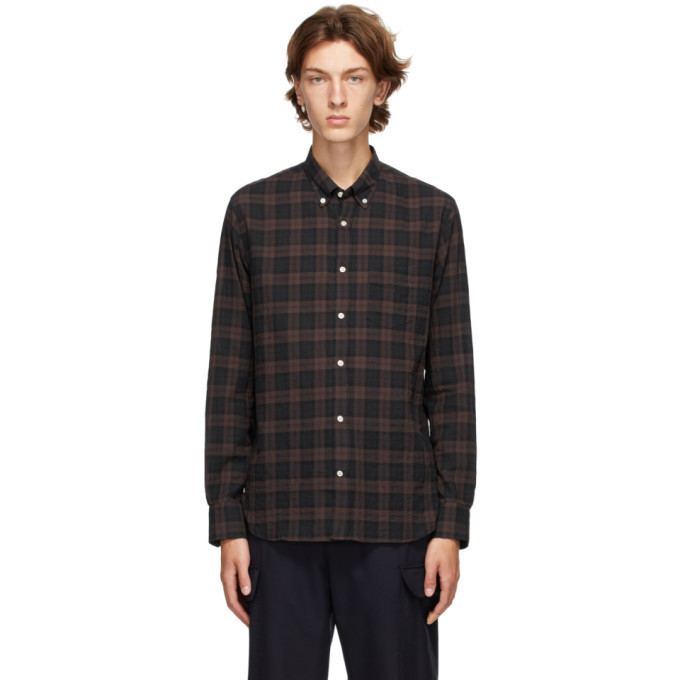 Officine Generale Navy and Brown Ombre Check Shirt
