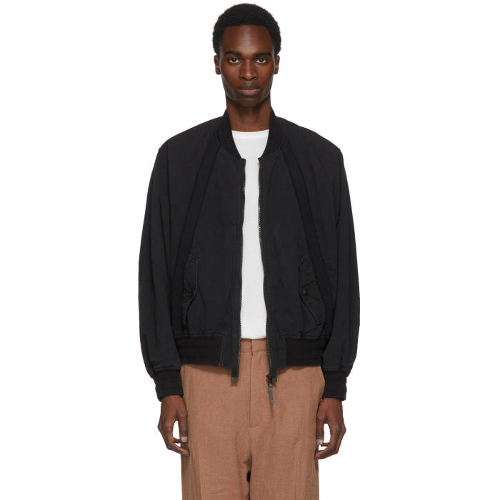 Robert Geller Black Bertrand Paper Cotton Bomber Jacket