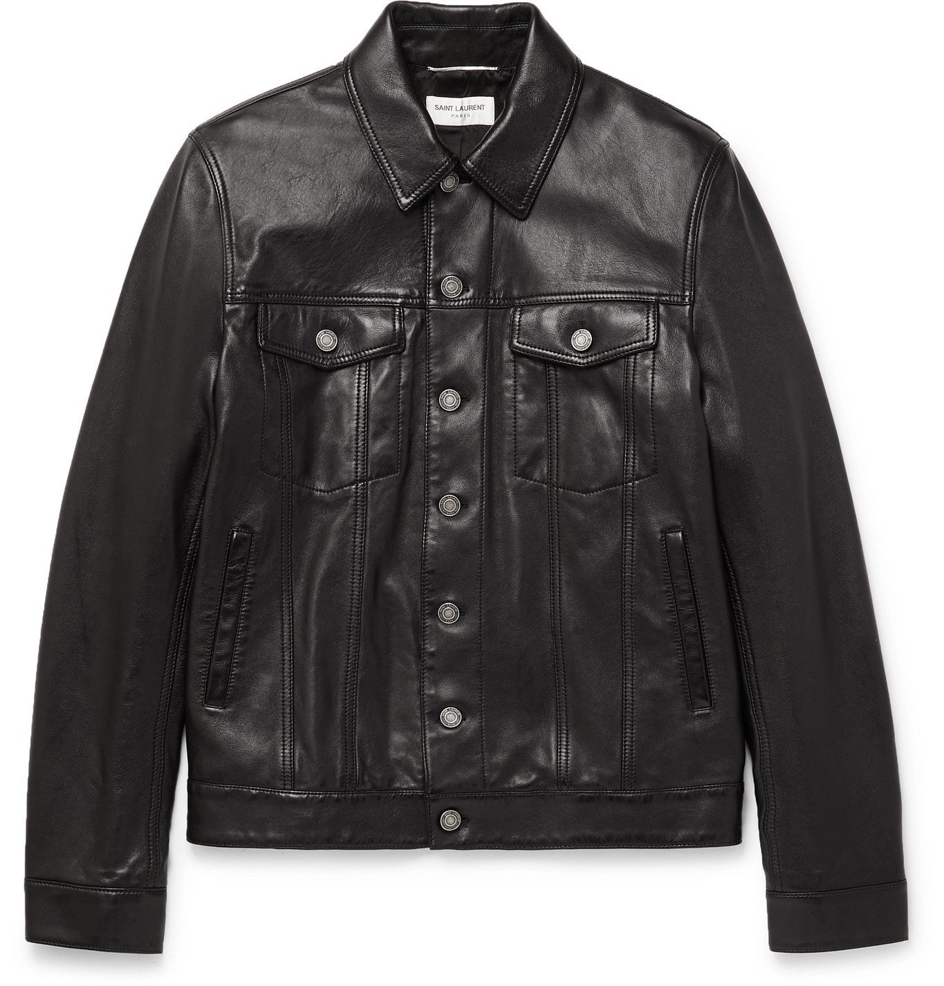 Photo: SAINT LAURENT - Segovia Leather Jacket - Black