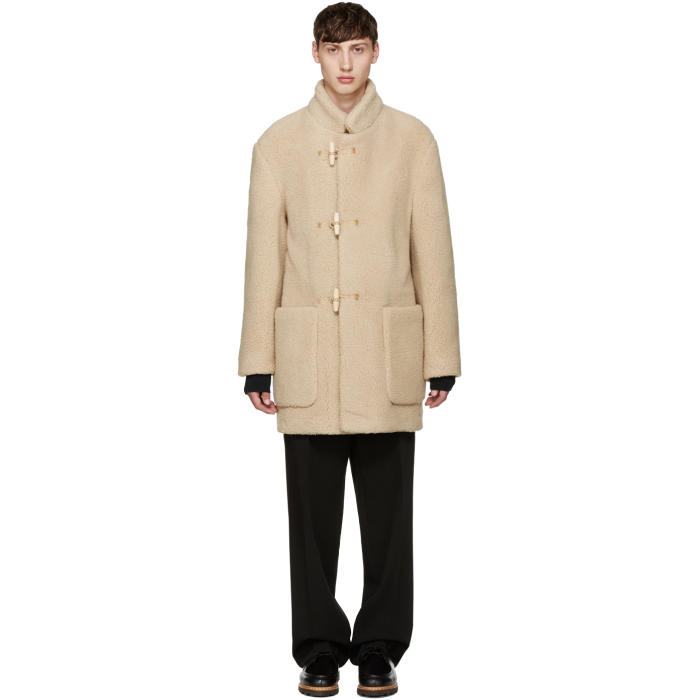 Photo: Lemaire Beige Faux-Shearling Gloverall Edition Duffle Coat
