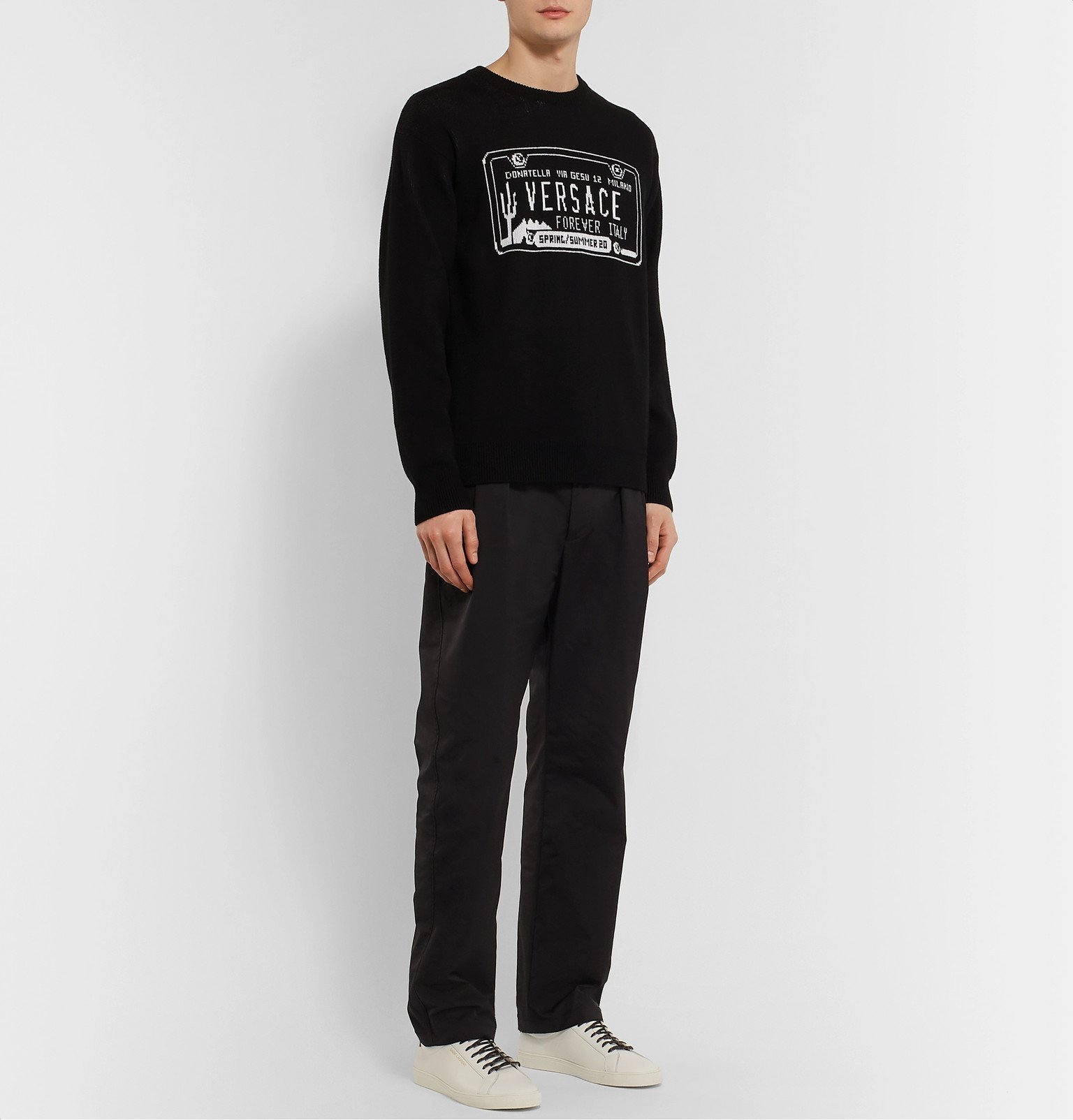 Versace - Slim-Fit Logo-Intarsia Cotton Sweater - Black