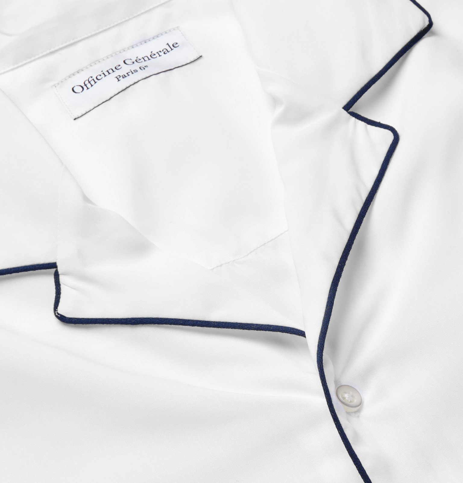 Officine Generale - Jeffrey Camp-Collar Piped Lyocell Shirt - White