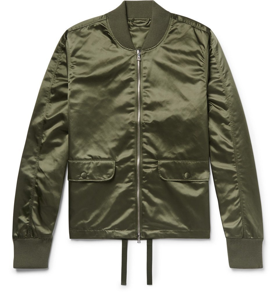 Photo: Officine Generale - Satin Bomber Jacket - Army green