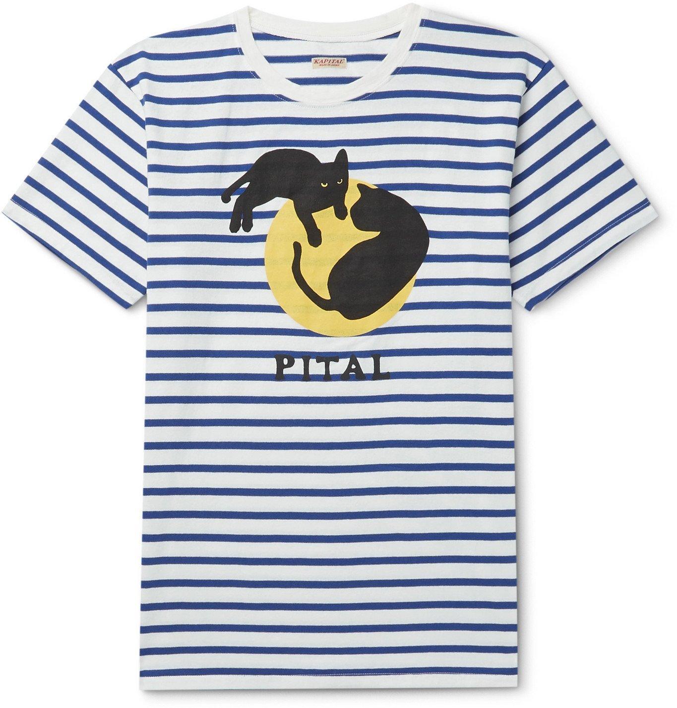Photo: KAPITAL - Printed Striped Cotton-Jersey T-Shirt - White