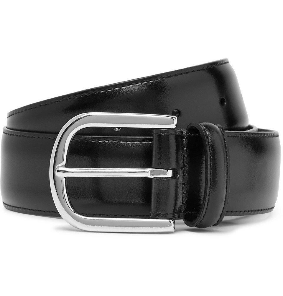 Photo: Anderson's - 3cm Navy Burnished-Leather Belt - Black