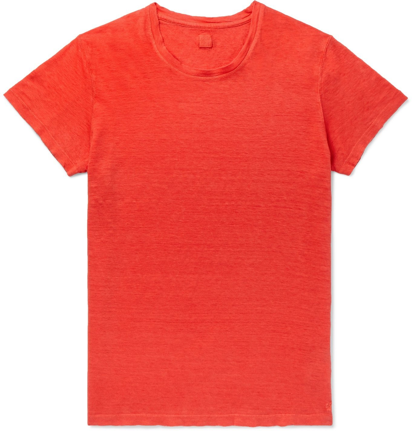 Photo: 120% - Slim-Fit Garment-Dyed Linen T-Shirt - Red