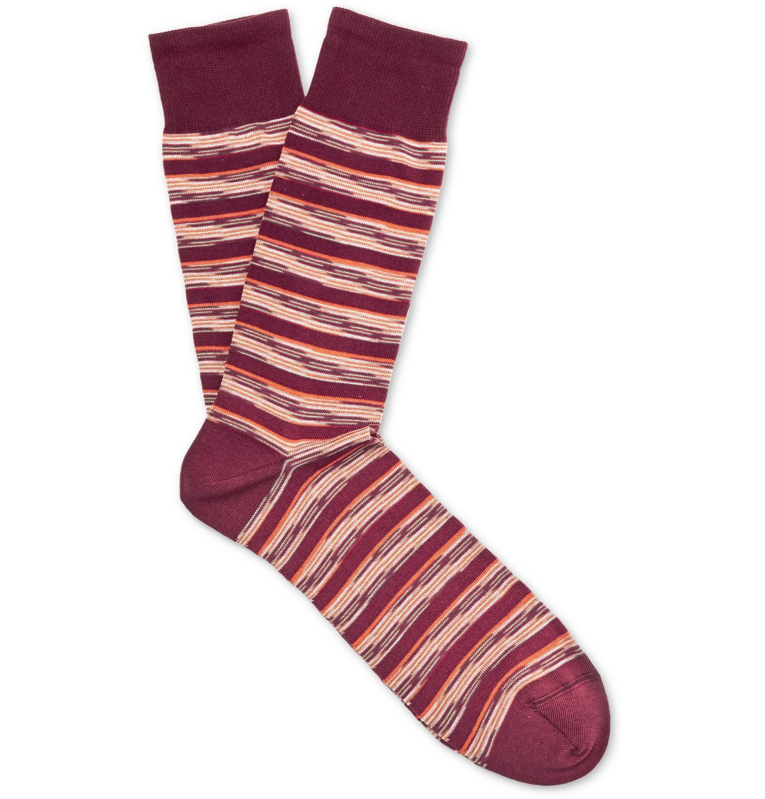 Photo: Missoni - Striped Cotton-Blend Jacquard Socks - Burgundy