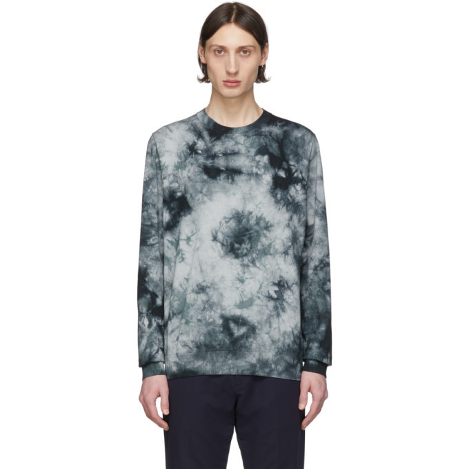 Photo: PS by Paul Smith Black and Grey Tie-Dye Sweater
