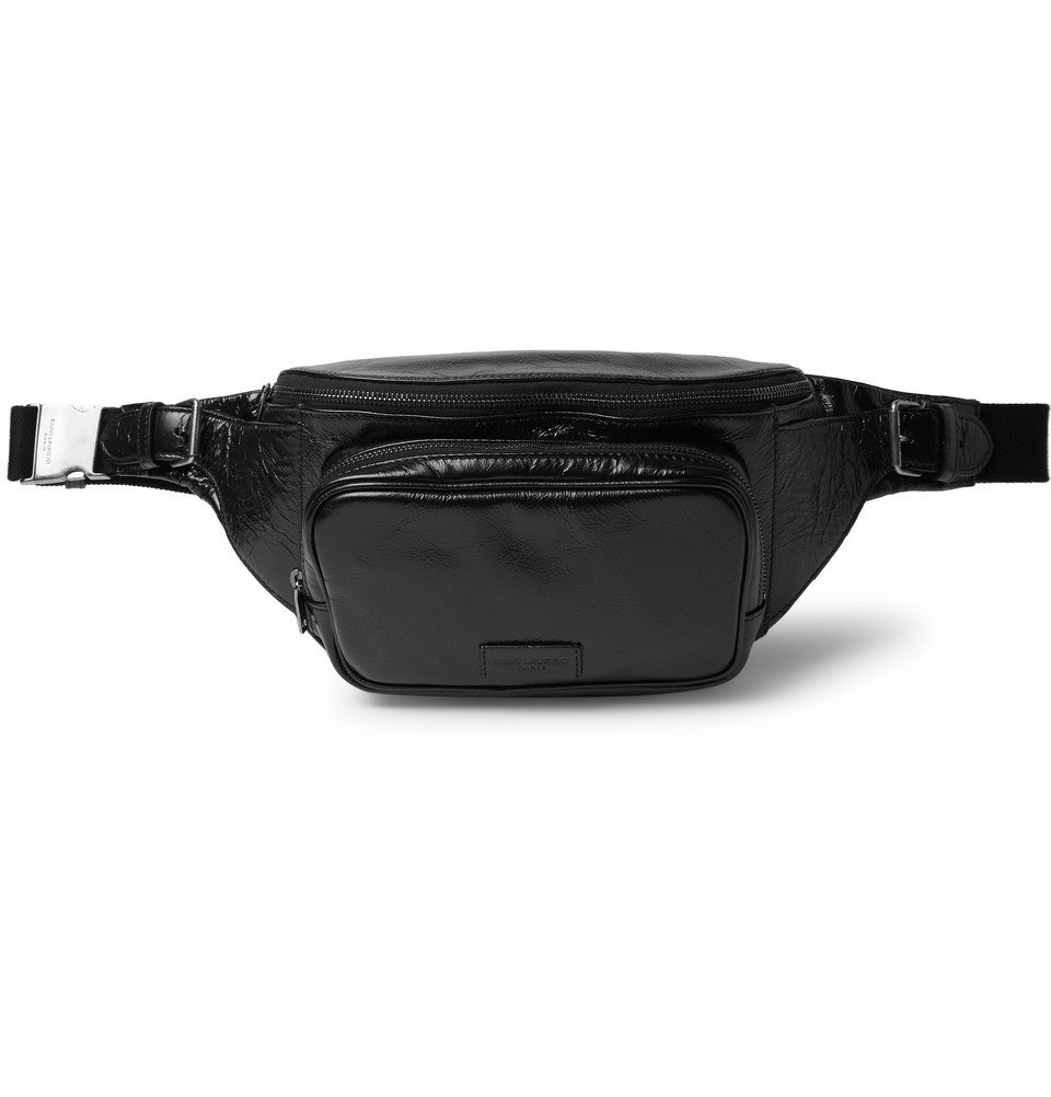 Photo: SAINT LAURENT - Creased-Leather Belt Bag - Black