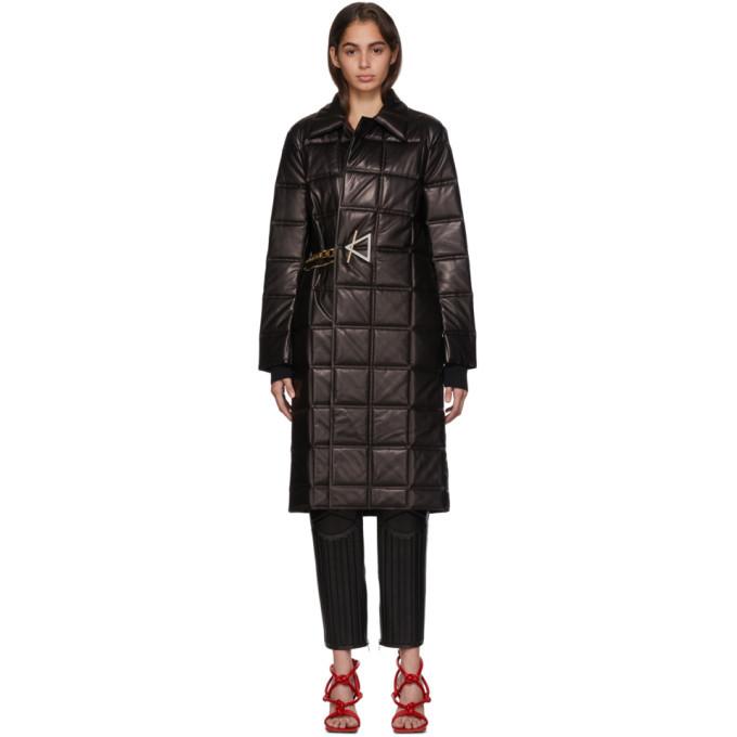 Photo: Bottega Veneta Black Lambskin Quilted Coat