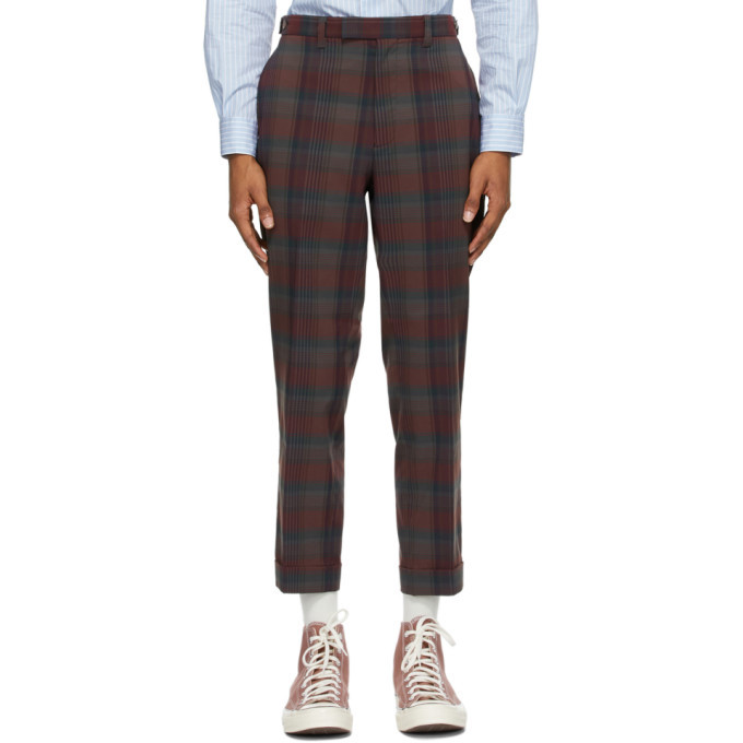 Photo: BEAMS PLUS Burgundy Check Ankle-Cut Trousers