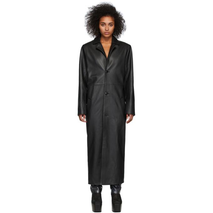 Photo: Mowalola Black Leather LC Heat Coat