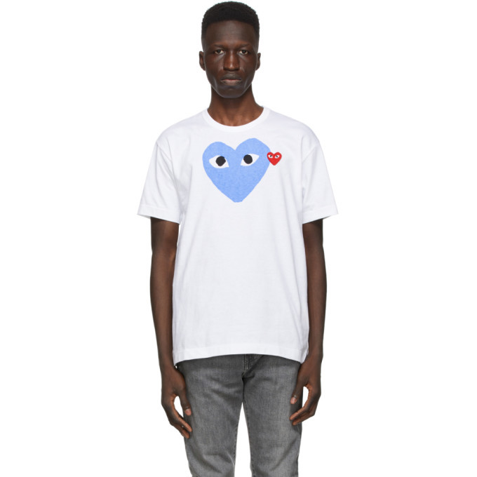 Photo: Comme des Garcons Play White and Blue Big Heart T-Shirt