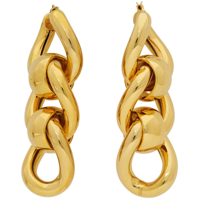 Photo: Bottega Veneta Gold Triple Link Earrings