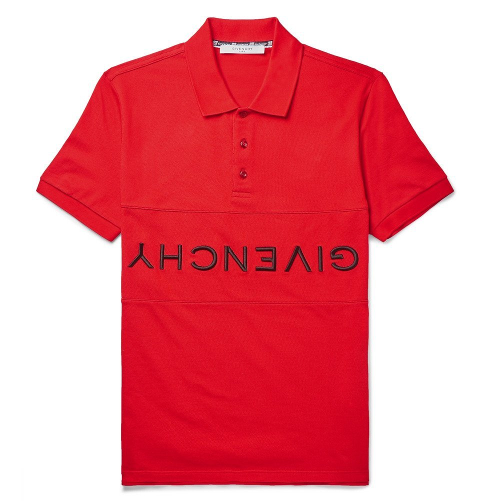 Photo: Givenchy - Slim-Fit Logo-Embroidered Cotton-Piqué Polo Shirt - Red