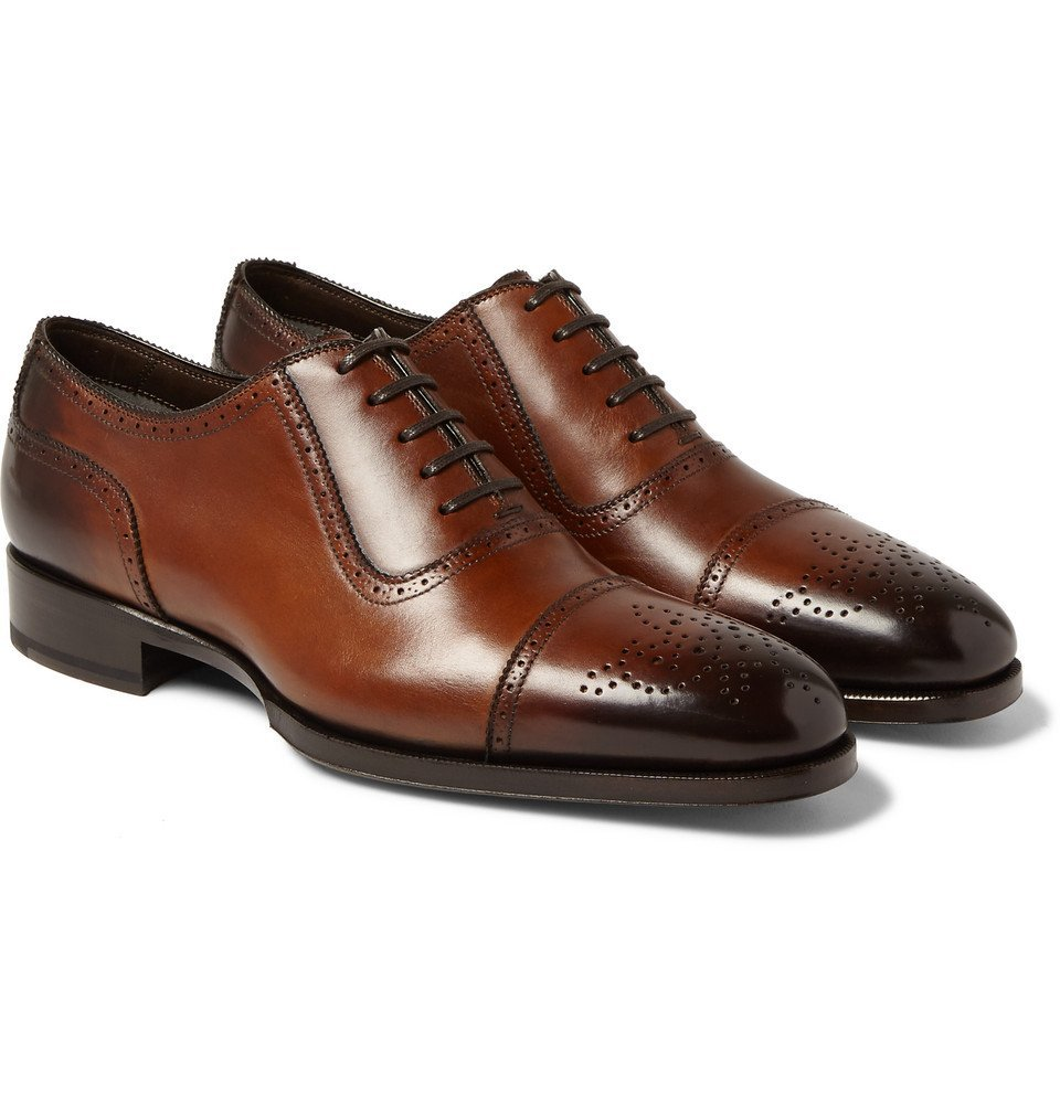 Photo: TOM FORD - Austin Cap-Toe Burnished-Leather Oxford Brogues - Brown
