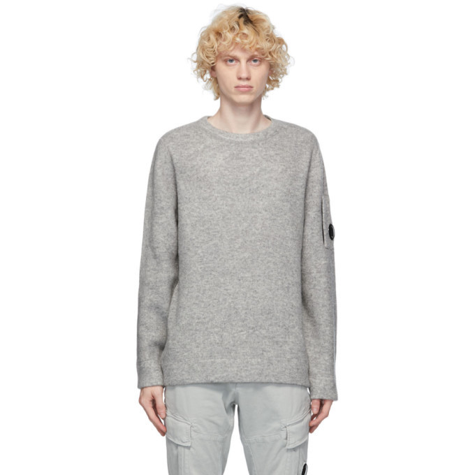 C.P. Company Grey Mixed Lens Sweater