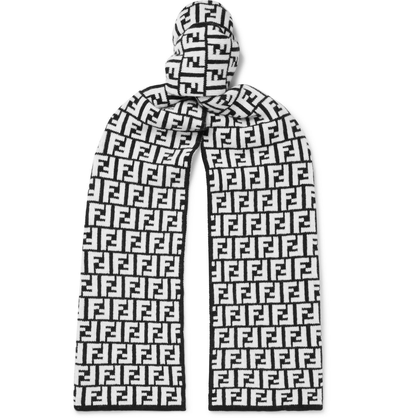 Photo: Fendi - Logo-Jacquard Wool Scarf - Black