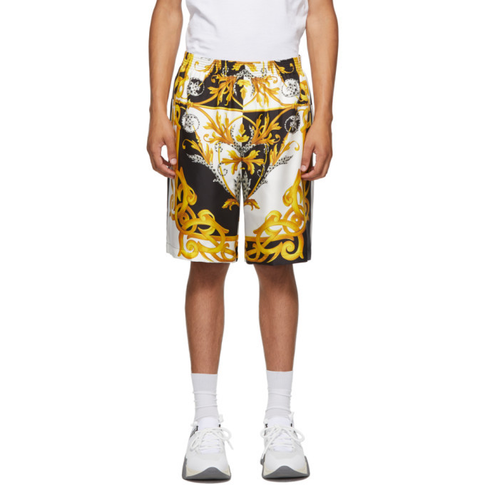 Photo: Versace White and Gold Barocco Shorts