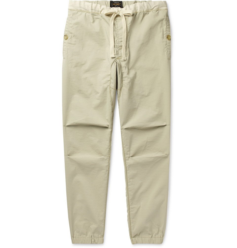 Photo: Beams Plus - Slim-Fit Tapered Grosgrain-Trimmed Ripstop Drawstring Trousers - Beige
