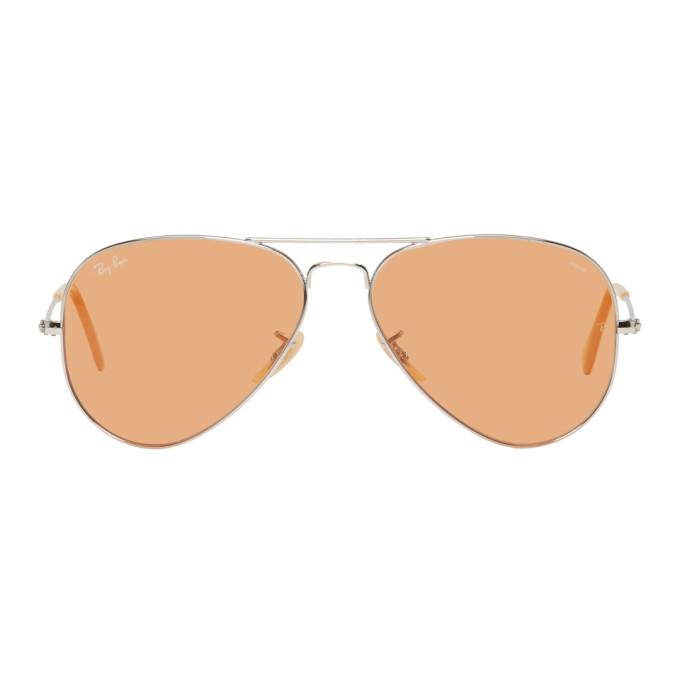 Photo: Ray-Ban Silver and Orange Pilot Aviator Sunglasses