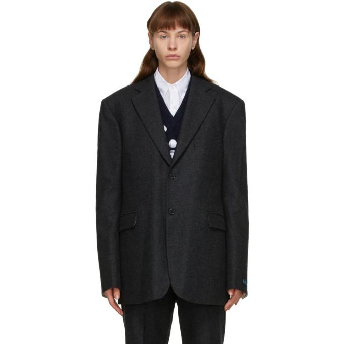 Raf Simons Grey Wool Straight-Fit Blazer