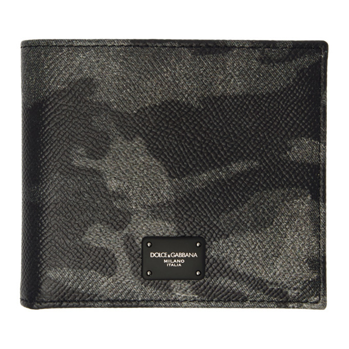 Photo: Dolce and Gabbana Black and Grey Camo Bifold Wallet