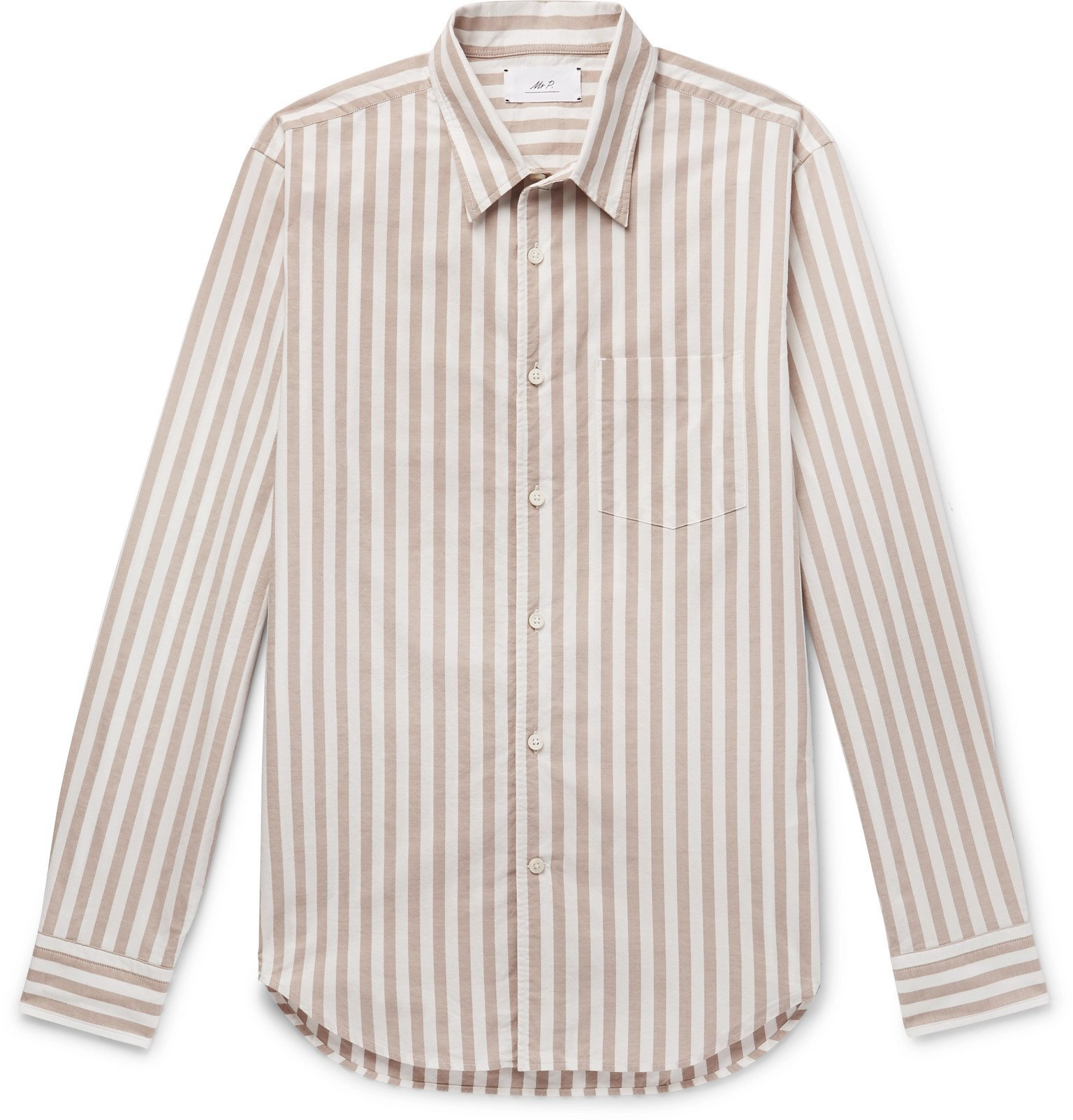 Photo: Mr P. - Striped Cotton Oxford Shirt - Neutrals