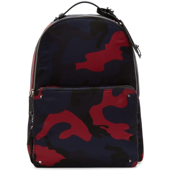 Photo: Valentino Navy and Red Valentino Garavani Camo Backpack